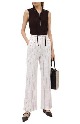 Женские льняные брюки LORENA ANTONIAZZI кремвого цвета, арт. P2113PA016/3423 | Фото 2