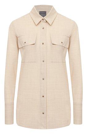 Женская шерстяная рубашка LORENA ANTONIAZZI бежевого цвета, арт. P2110CA020/2147 | Фото 1