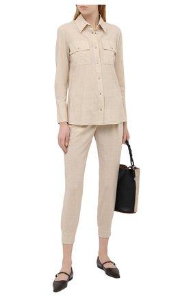 Женская шерстяная рубашка LORENA ANTONIAZZI бежевого цвета, арт. P2110CA020/2147 | Фото 2