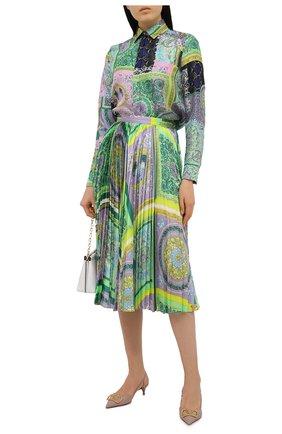 Женская шелковая рубашка VERSACE разноцветного цвета, арт. A82662/1F00456 | Фото 2