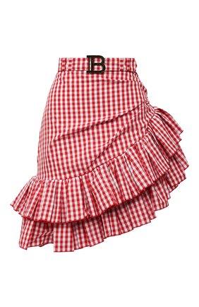 Женская хлопковая юбка BALMAIN красного цвета, арт. VF14315/C280 | Фото 1