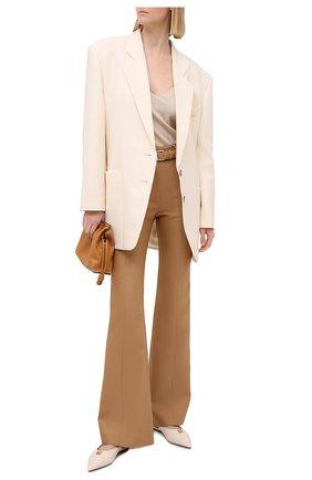 Женские брюки из шерсти и шелка PROENZA SCHOULER бежевого цвета, арт. R2116008-AW112 | Фото 2