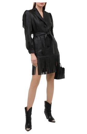Женское платье из экокожи PHILOSOPHY DI LORENZO SERAFINI черного цвета, арт. V0604/740 | Фото 2