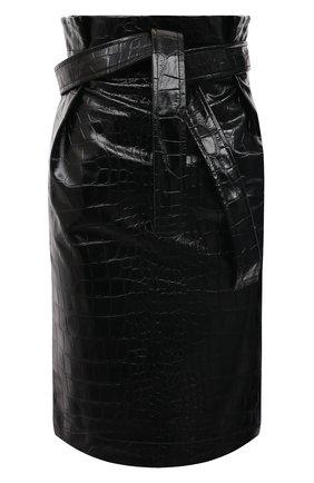 Женская юбка из экокожи PHILOSOPHY DI LORENZO SERAFINI черного цвета, арт. V0101/741 | Фото 1