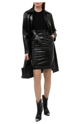 Женская юбка из экокожи PHILOSOPHY DI LORENZO SERAFINI черного цвета, арт. V0101/741 | Фото 2