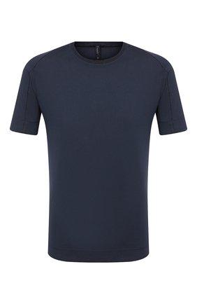 Мужская футболка из хлопка и льна TRANSIT темно-синего цвета, арт. CFUTRN1360 | Фото 1 (Материал внешний: Хлопок; Длина (для топов): Стандартные; Принт: Без принта; Стили: Кэжуэл; Рукава: Короткие)
