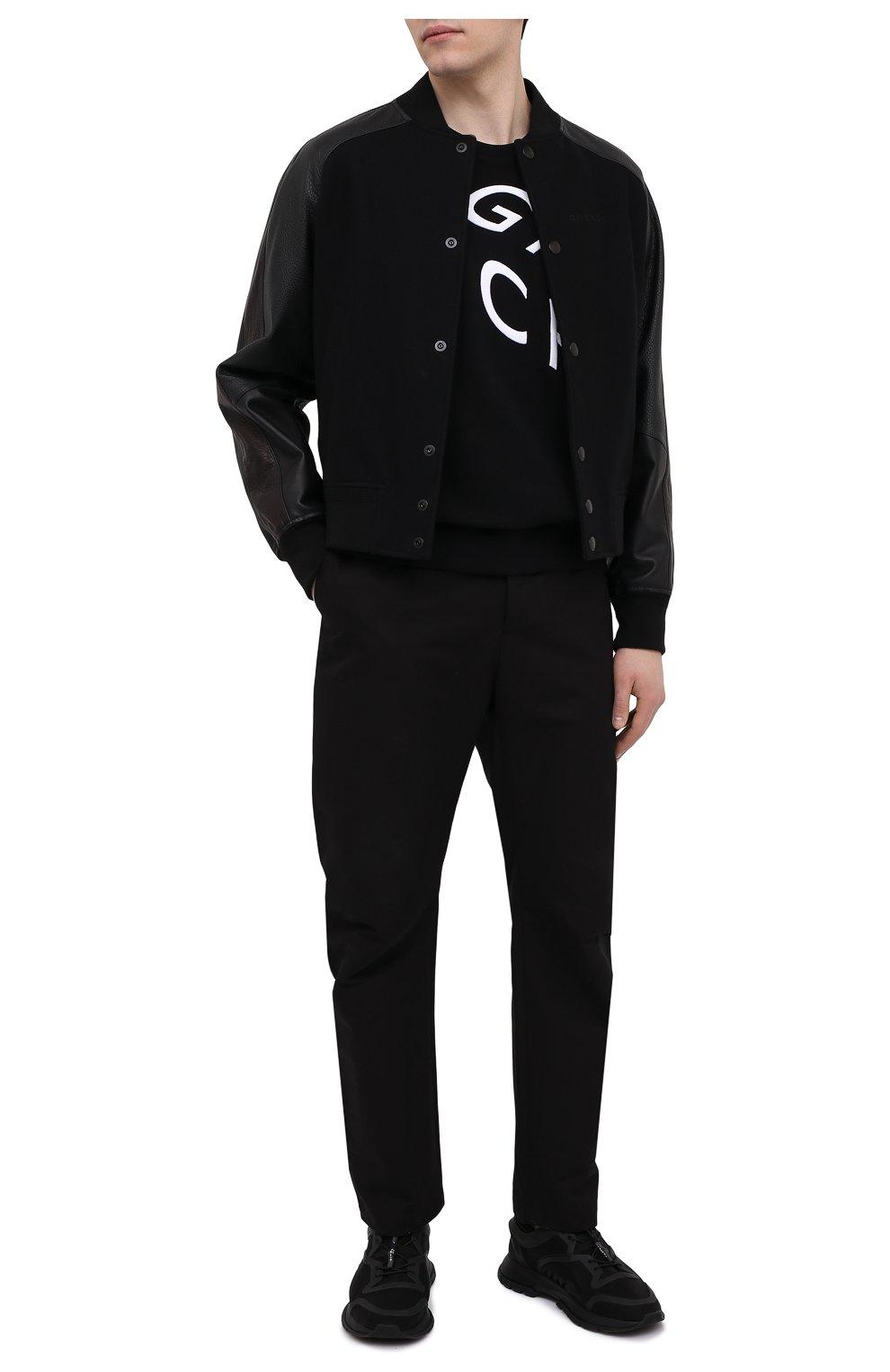 Мужской хлопковый свитшот GIVENCHY черного цвета, арт. BMJ07H30AF | Фото 2 (Рукава: Длинные; Длина (для топов): Стандартные; Принт: С принтом; Мужское Кросс-КТ: свитшот-одежда; Материал внешний: Хлопок; Стили: Кэжуэл)