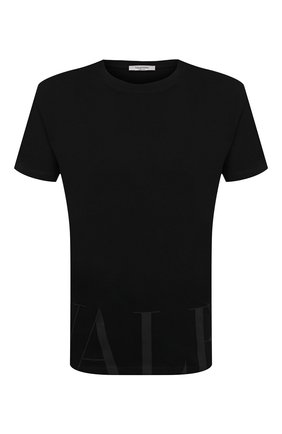 Мужская хлопковая футболка VALENTINO черного цвета, арт. VV3MG07D735 | Фото 1 (Длина (для топов): Стандартные; Рукава: Короткие; Стили: Кэжуэл; Материал внешний: Хлопок; Принт: С принтом)