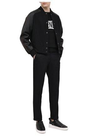 Мужские кожаные кеды b-court easy BALMAIN черно-белого цвета, арт. VM1C246/LAEC   Фото 2