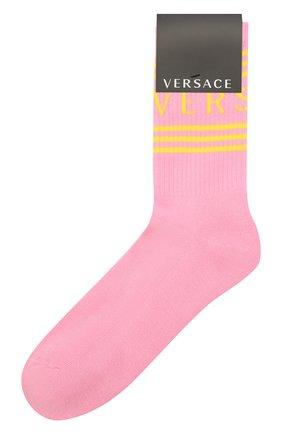 Мужские хлопковые носки VERSACE розового цвета, арт. ICZ0003/IK0203 | Фото 1 (Материал внешний: Хлопок; Кросс-КТ: бельё)