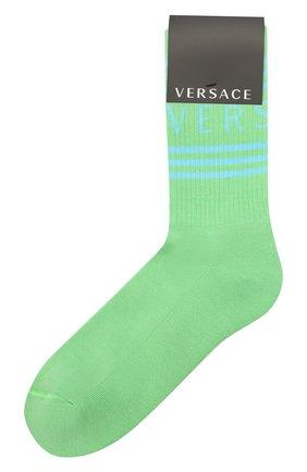 Мужские хлопковые носки VERSACE зеленого цвета, арт. ICZ0003/IK0203   Фото 1