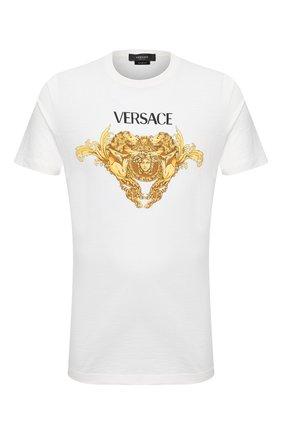 Мужская хлопковая футболка VERSACE белого цвета, арт. A88444/A237441 | Фото 1