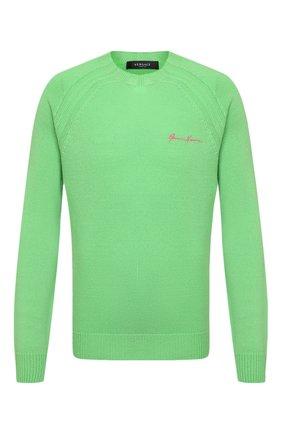 Мужской кашемировый свитер VERSACE зеленого цвета, арт. A88199/A237529 | Фото 1 (Материал внешний: Шерсть, Кашемир; Стили: Кэжуэл; Мужское Кросс-КТ: Свитер-одежда; Рукава: Длинные; Принт: Без принта; Длина (для топов): Стандартные)
