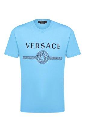 Мужская хлопковая футболка VERSACE синего цвета, арт. A87573/A228806 | Фото 1