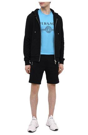 Мужская хлопковая футболка VERSACE синего цвета, арт. A87573/A228806 | Фото 2