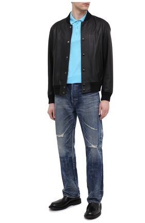Мужское хлопковое поло VERSACE голубого цвета, арт. A87427/A237141 | Фото 2