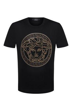 Мужская хлопковая футболка VERSACE черного цвета, арт. A77987/A201952 | Фото 1
