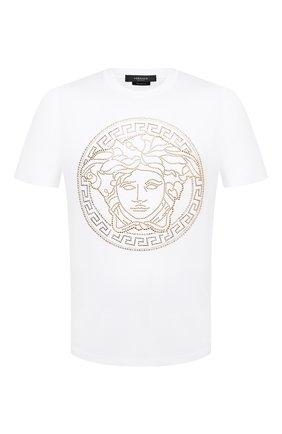 Мужская хлопковая футболка VERSACE белого цвета, арт. A77987/A201952 | Фото 1