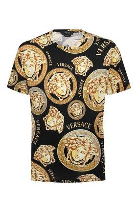 Мужская хлопковая футболка VERSACE золотого цвета, арт. A76113/1F00641 | Фото 1
