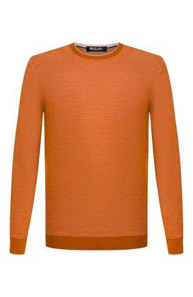 Мужской джемпер из шерсти и кашемира LORO PIANA оранжевого цвета, арт. FAI0361 | Фото 1
