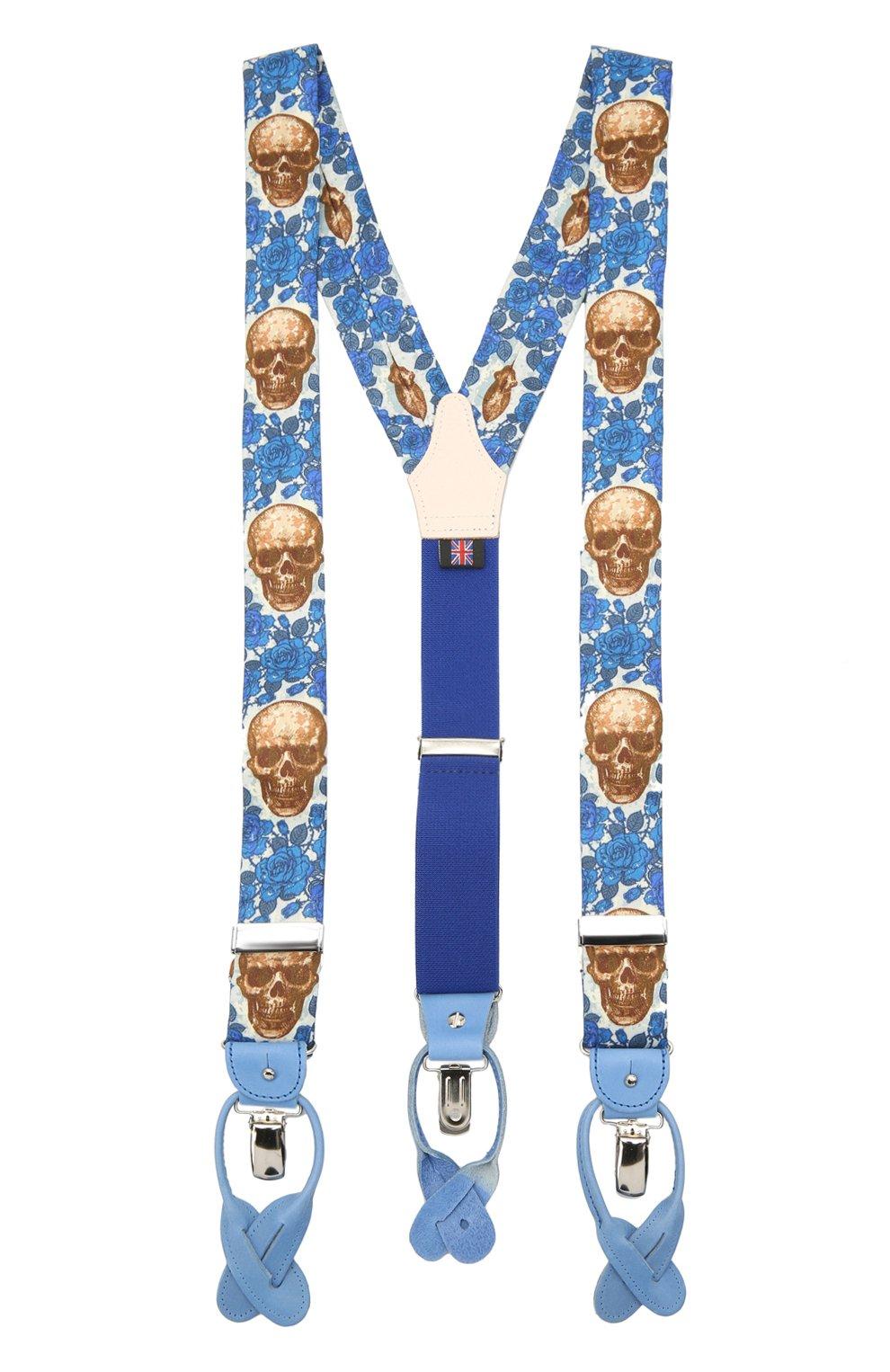 Мужские хлопковые подтяжки ALBERT THURSTON синего цвета, арт. 20/SHIRTING   Фото 1 (Материал: Текстиль, Хлопок)