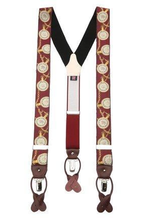 Мужские шелковые подтяжки ALBERT THURSTON бордового цвета, арт. 55/2422 | Фото 1 (Материал: Текстиль, Шелк)