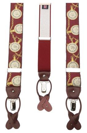 Мужские шелковые подтяжки ALBERT THURSTON бордового цвета, арт. 55/2422 | Фото 2