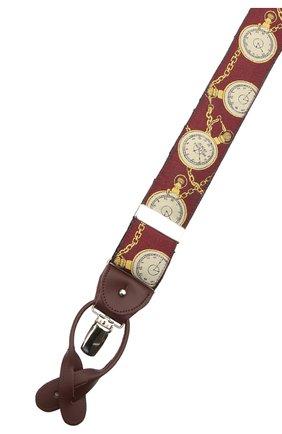 Мужские шелковые подтяжки ALBERT THURSTON бордового цвета, арт. 55/2422 | Фото 3 (Материал: Текстиль, Шелк)