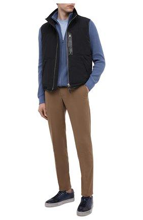 Мужские кожаные кеды SANTONI темно-синего цвета, арт. MBGL20850SP0MG00U38 | Фото 2