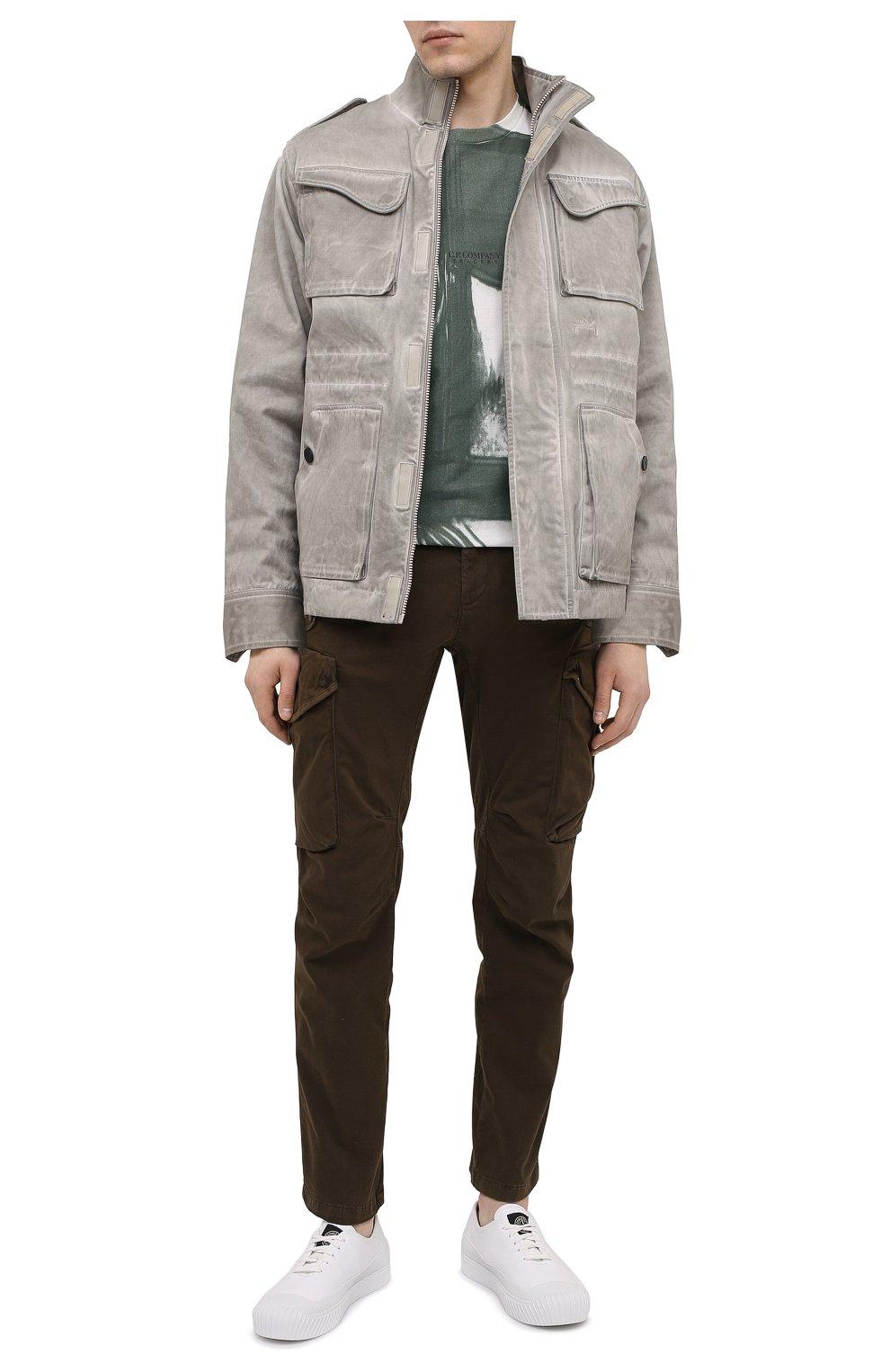 Мужские кожаные кеды STONE ISLAND белого цвета, арт. 7415S0149   Фото 2 (Материал внутренний: Натуральная кожа, Текстиль; Подошва: Плоская)