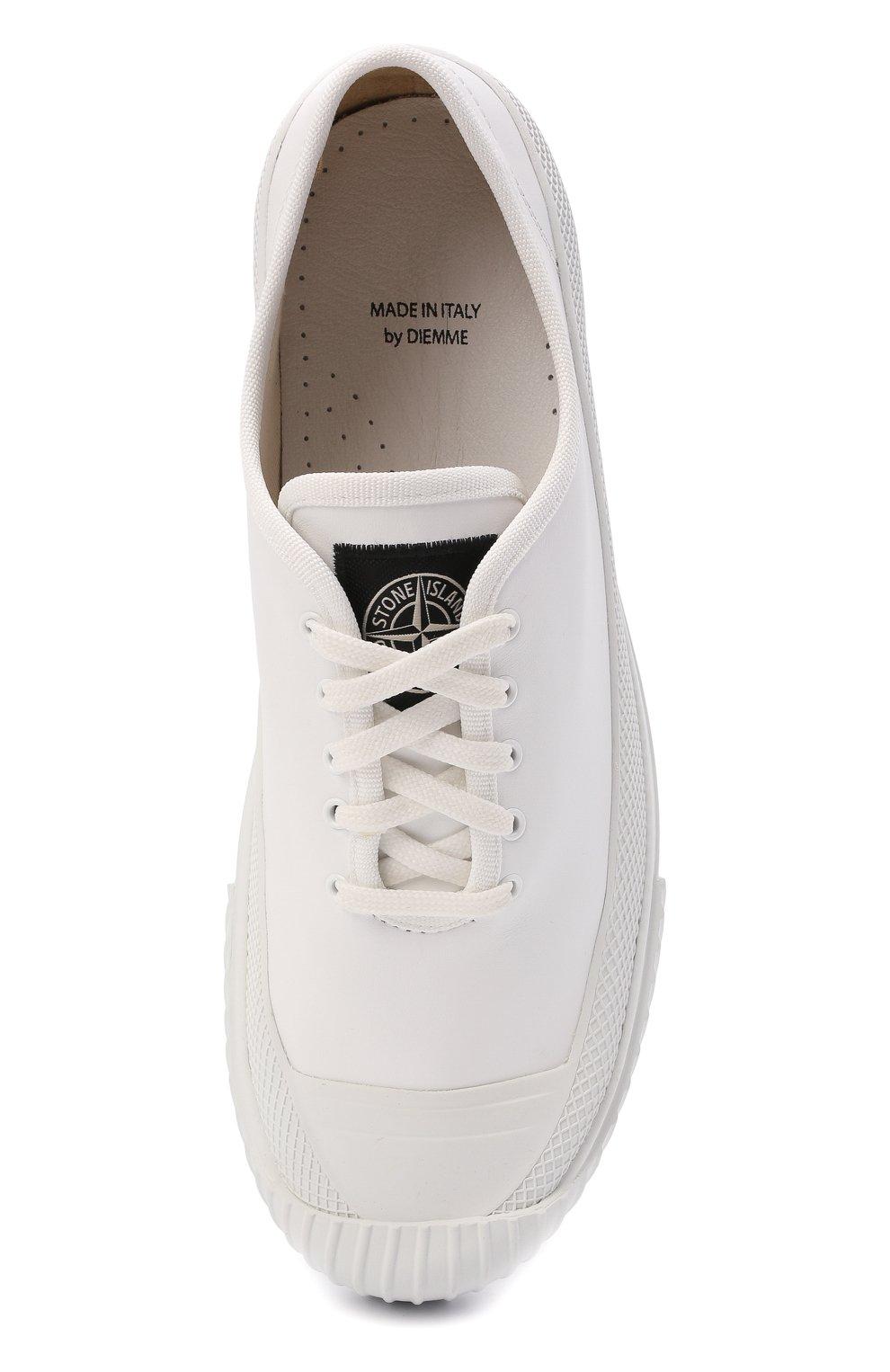 Мужские кожаные кеды STONE ISLAND белого цвета, арт. 7415S0149   Фото 5 (Материал внутренний: Натуральная кожа, Текстиль; Подошва: Плоская)