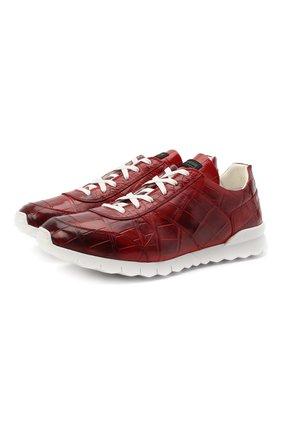 Мужские кроссовки из кожи аллигатора KITON красного цвета, арт. USSVLAWN00102/AMIS | Фото 1