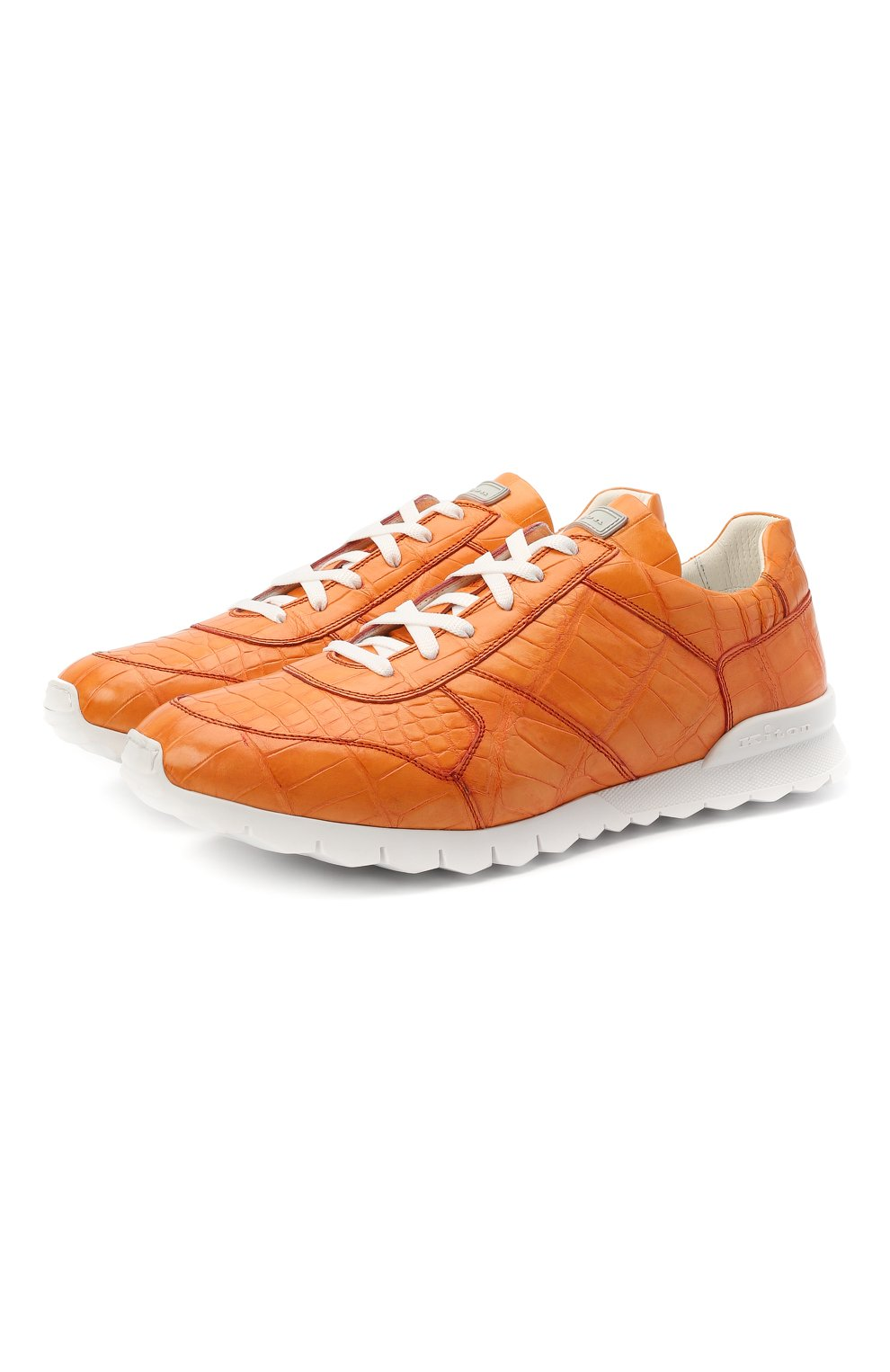 Мужские кроссовки из кожи аллигатора KITON оранжевого цвета, арт. USSVLAWN00102/AMIS | Фото 1