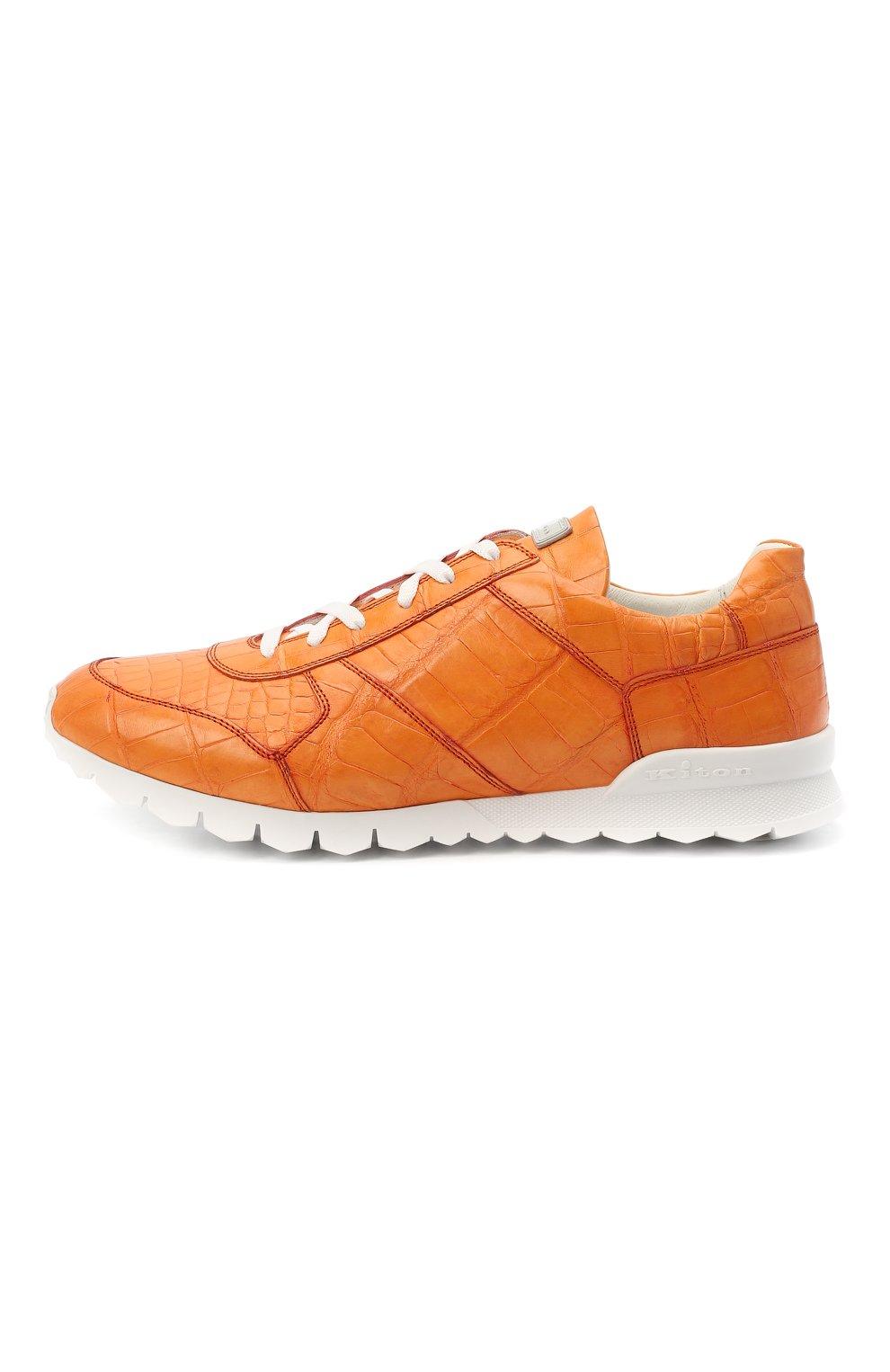 Мужские кроссовки из кожи аллигатора KITON оранжевого цвета, арт. USSVLAWN00102/AMIS | Фото 3
