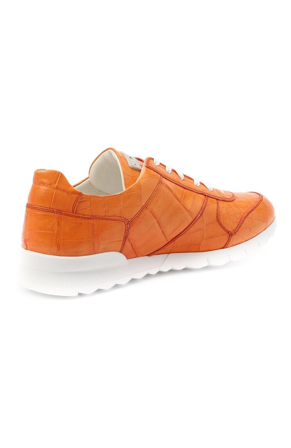Мужские кроссовки из кожи аллигатора KITON оранжевого цвета, арт. USSVLAWN00102/AMIS | Фото 4