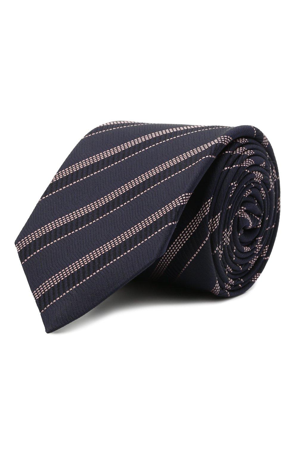 Мужской шелковый галстук BOSS темно-синего цвета, арт. 50451880 | Фото 1