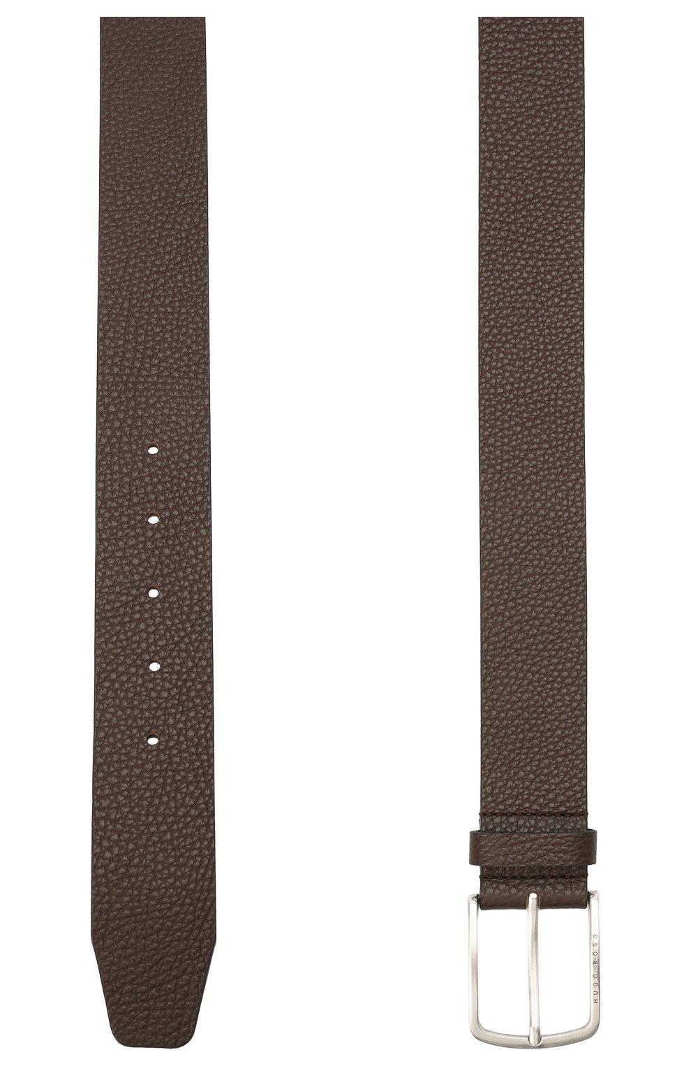 Мужской кожаный ремень BOSS коричневого цвета, арт. 50413064   Фото 2 (Случай: Формальный)