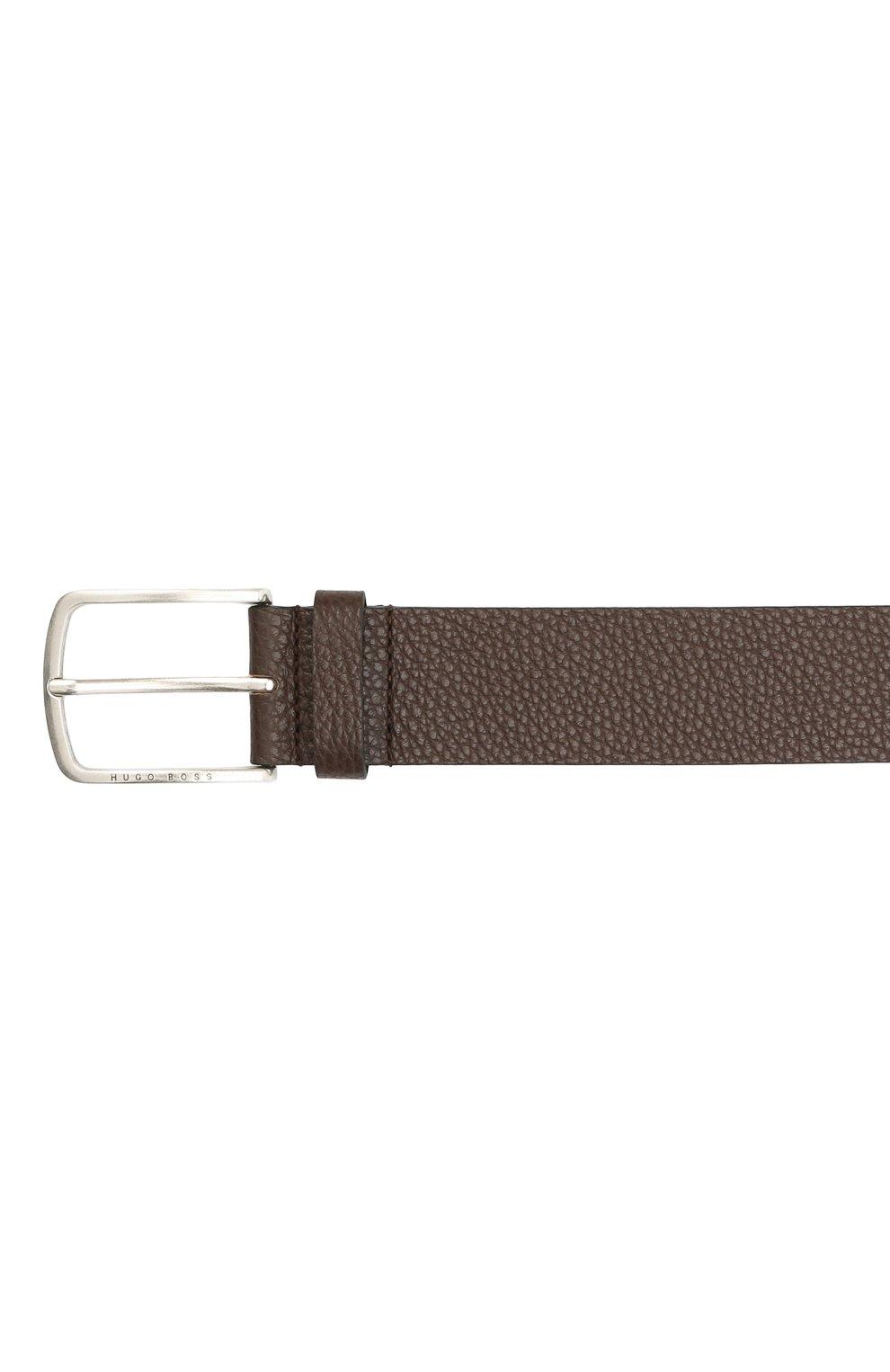 Мужской кожаный ремень BOSS коричневого цвета, арт. 50413064   Фото 3 (Случай: Формальный)