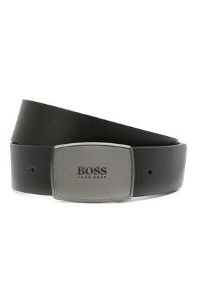Мужской кожаный ремень BOSS черного цвета, арт. 50447287 | Фото 1