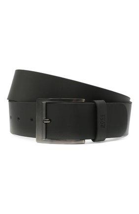 Мужской кожаный ремень BOSS черного цвета, арт. 50447196 | Фото 1