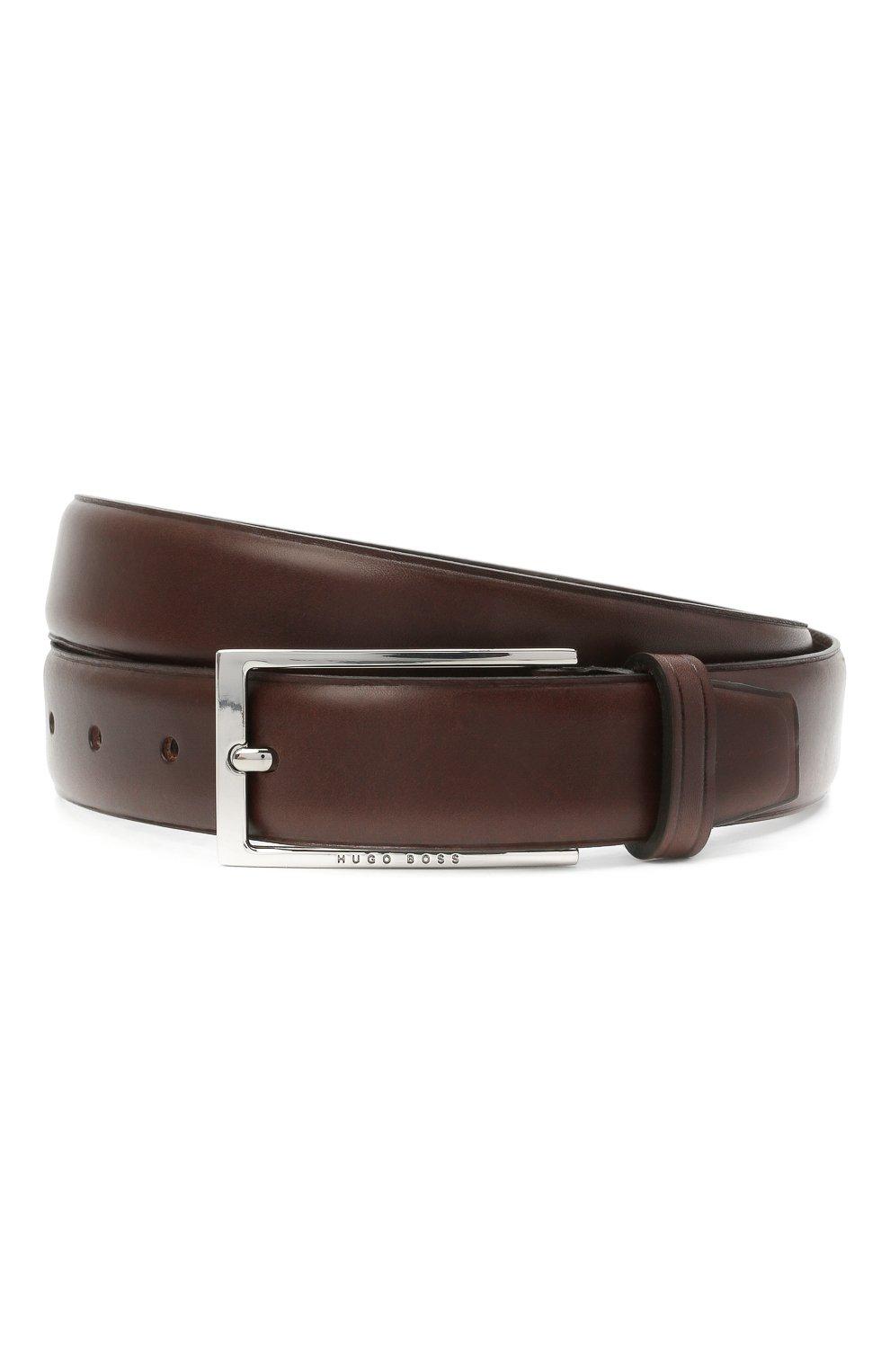 Мужской кожаный ремень BOSS темно-коричневого цвета, арт. 50440771 | Фото 1