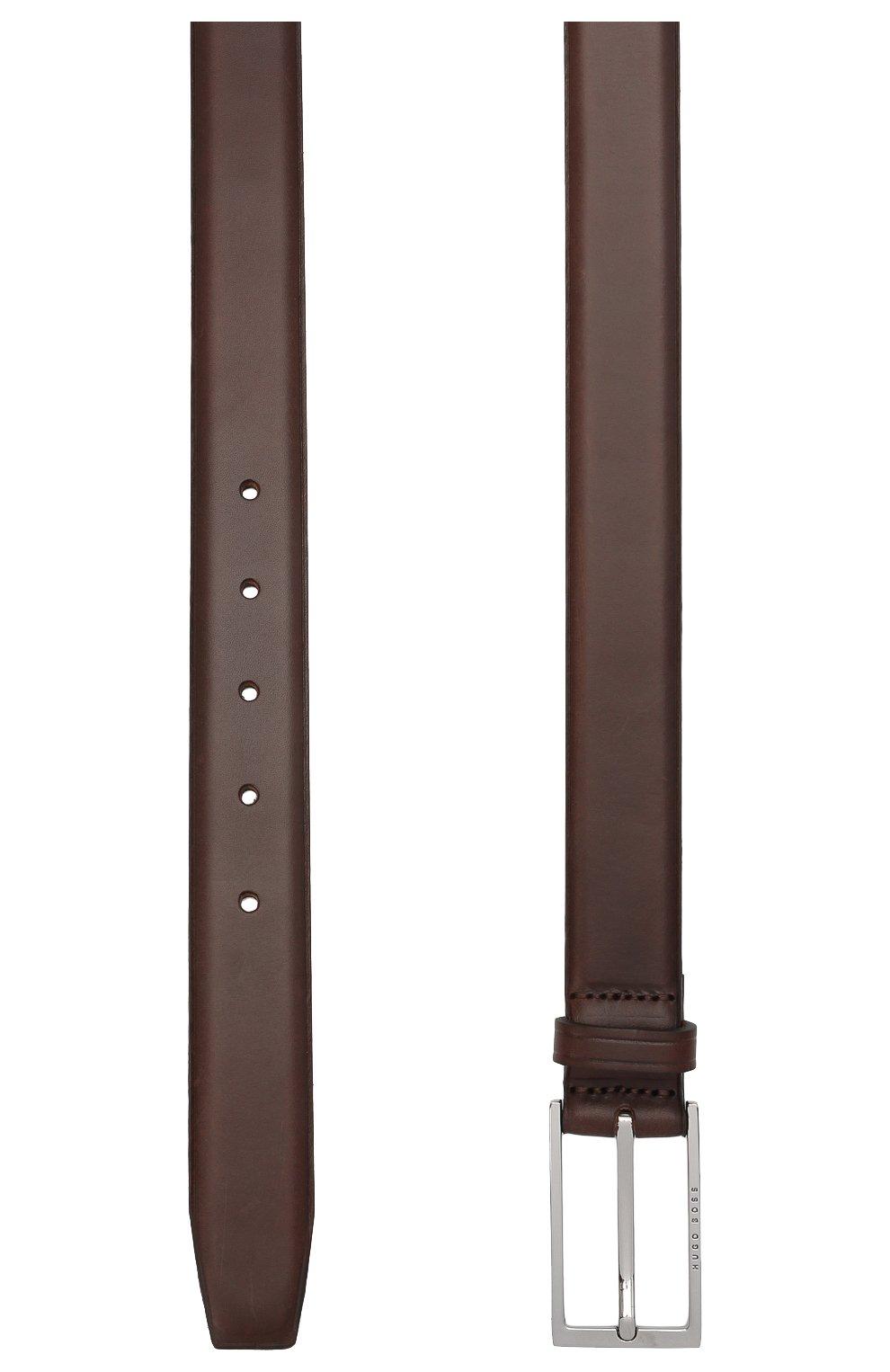 Мужской кожаный ремень BOSS темно-коричневого цвета, арт. 50440771 | Фото 2