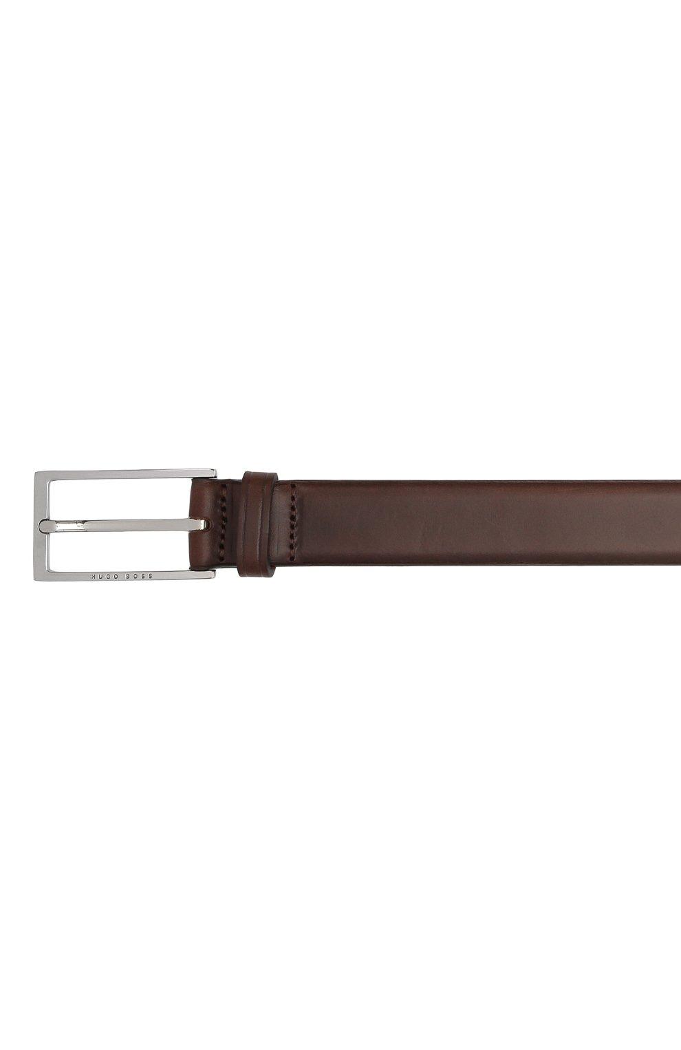 Мужской кожаный ремень BOSS темно-коричневого цвета, арт. 50440771 | Фото 3