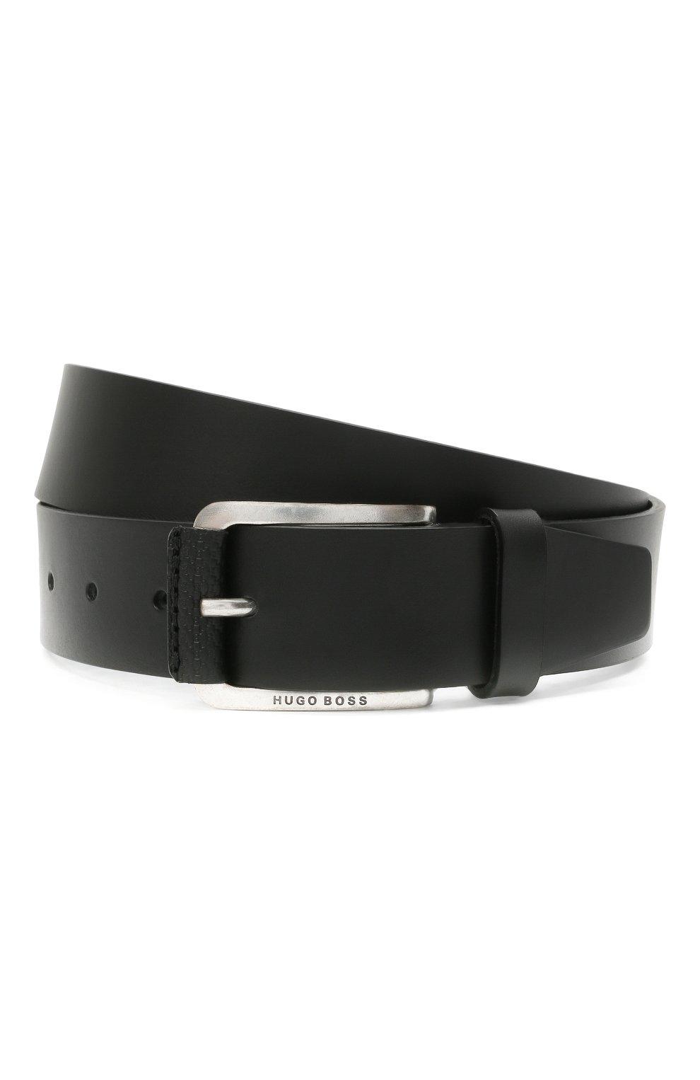 Мужской кожаный ремень BOSS черного цвета, арт. 50435218 | Фото 1