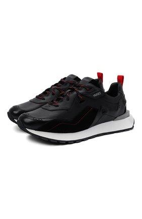 Мужские кожаные кроссовки HUGO черного цвета, арт. 50445699 | Фото 1
