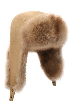 Мужская шапка-ушанка с отделкой из меха соболя KUSSENKOVV светло-коричневого цвета, арт. 339103605159 | Фото 1