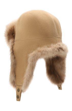 Мужская шапка-ушанка с отделкой из меха соболя KUSSENKOVV светло-коричневого цвета, арт. 339103605159 | Фото 2