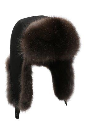 Мужская шапка-ушанка с отделкой из меха соболя KUSSENKOVV темно-коричневого цвета, арт. 339103504159 | Фото 1