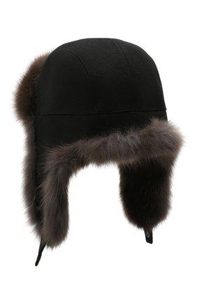 Мужская шапка-ушанка с отделкой из меха соболя KUSSENKOVV темно-коричневого цвета, арт. 339103504159 | Фото 2