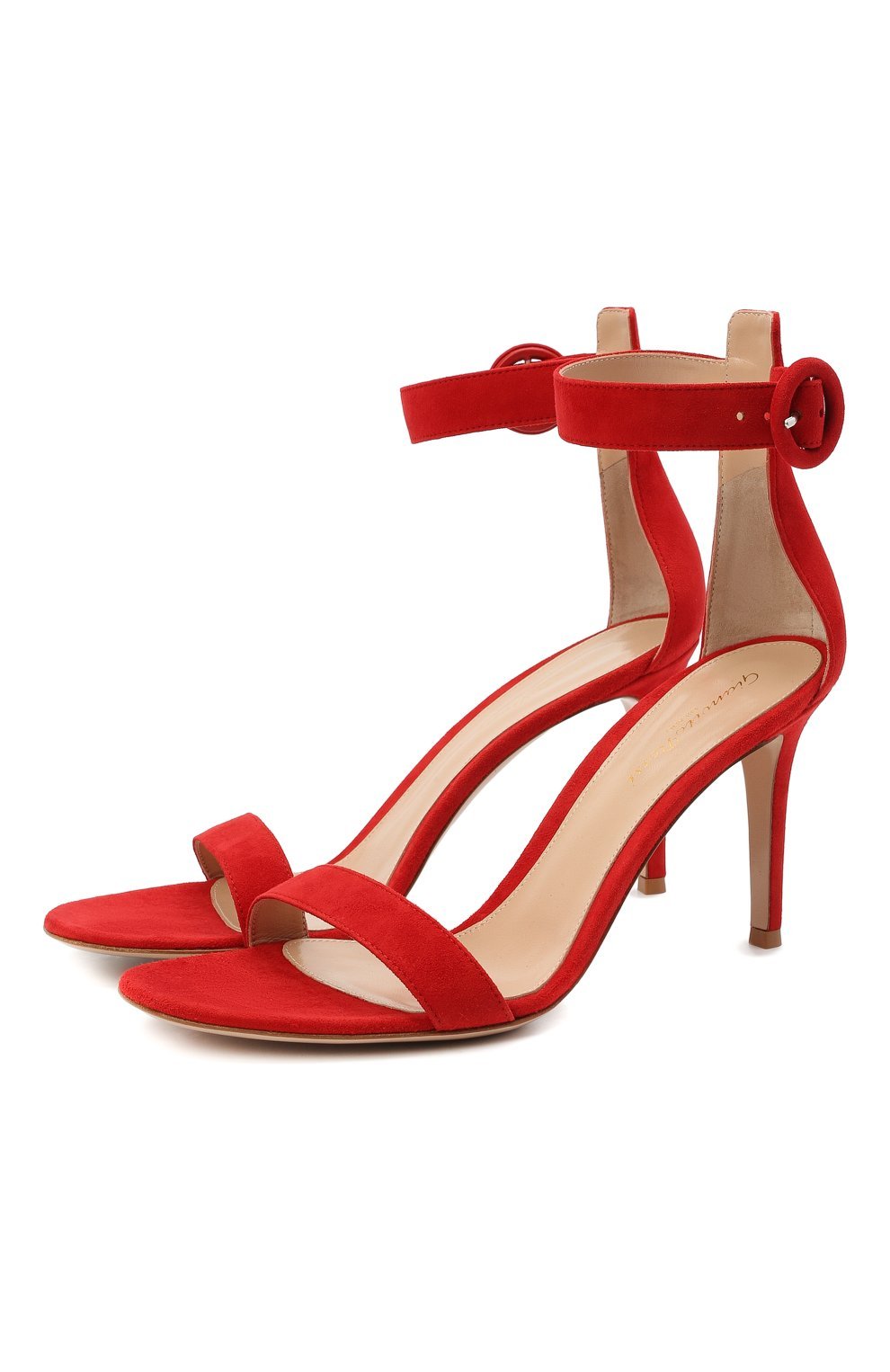 Женские замшевые босоножки portofino GIANVITO ROSSI красного цвета, арт. G60953.85RIC.CAMTABS | Фото 1 (Каблук высота: Высокий; Материал внутренний: Натуральная кожа; Каблук тип: Шпилька; Подошва: Плоская; Материал внешний: Замша)
